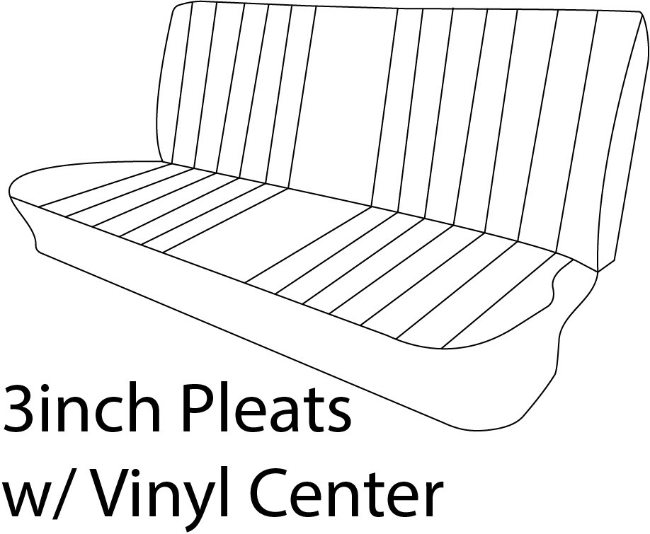 1969-72 Chevy & GMC Truck Vinyl Bench Seat Cover 3inch Pleats with Vinyl Center
