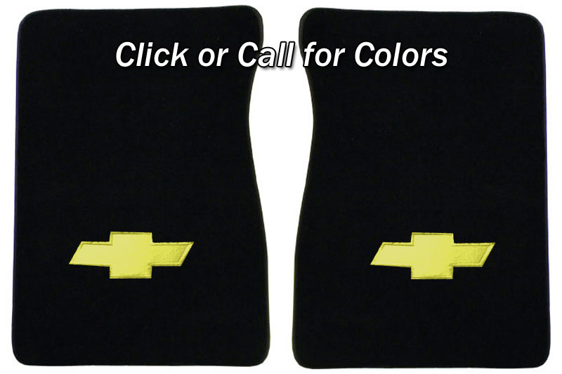 1973 87 Fullsize Chevy Truck Carpet Floor Mats With Bowtie Logo Carpet And Sound Deadeners Usa1 Interiors